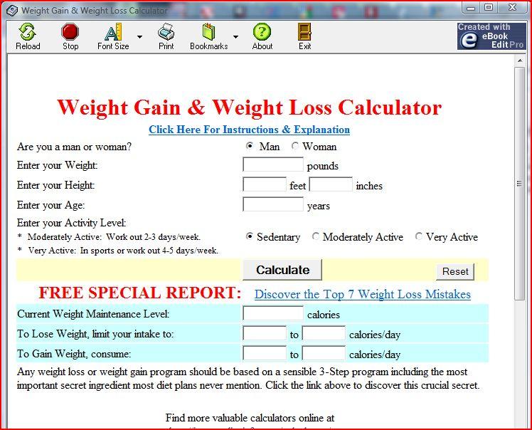 Weight Gain & Weight Loss Calculator screenshot