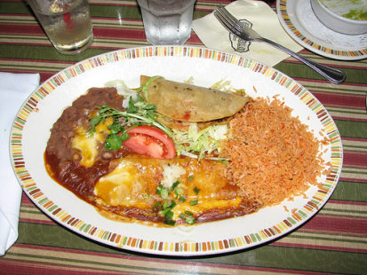 Cheese Enchiladas, Tacos, Rice & Beans